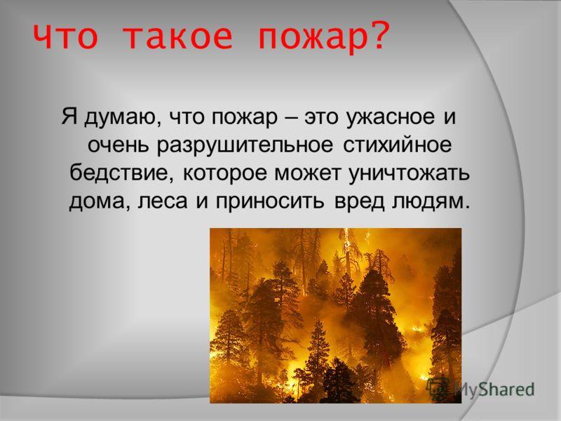 Что такое пожар? Я думаю, что пожар – это ужасное и очень разрушительное стихийное бедствие, которое может уничтожать дома, леса и приносить вред людям.