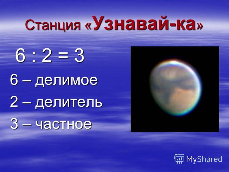 Станция « Узнавай-ка » 6 : 2 = 3 6 : 2 = 3 6 – делимое 2 – делитель 3 – частное