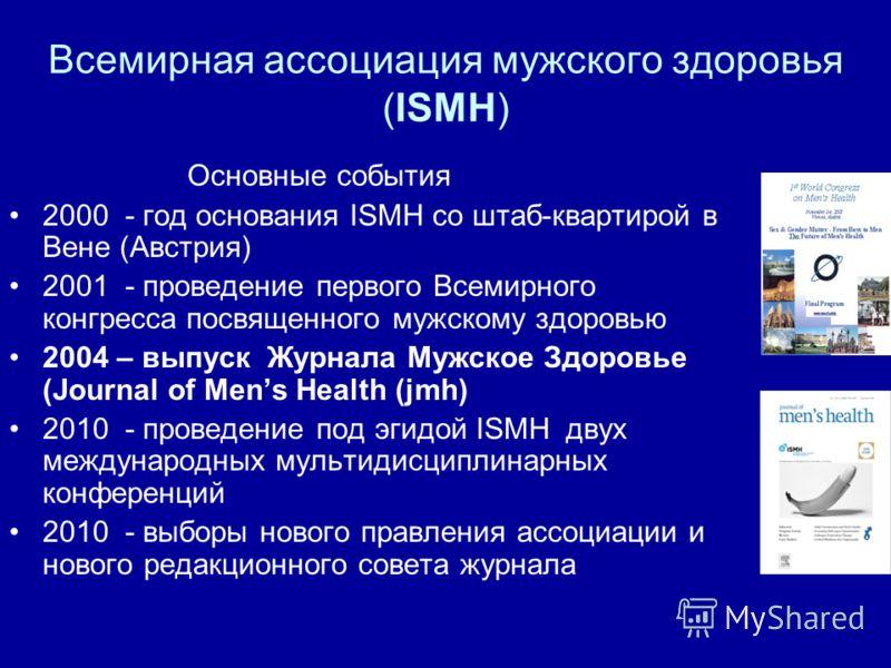 Всемирная ассоциация мужского здоровья (ISMH) Основные события 2000 - год основания ISMH со штаб-квартирой в Вене (Австрия) 2001 - проведение первого Всемирного конгресса посвященного мужскому здоровью 2004 – выпуск Журнала Мужское Здоровье (Journal