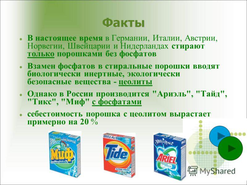 В настоящее время в Германии, Италии, Австрии, Норвегии, Швейцарии и Нидерландах стирают только порошками без фосфатов Взамен фосфатов в стиральные порошки вводят биологически инертные, экологически безопасные вещества - цеолиты Однако в России произ