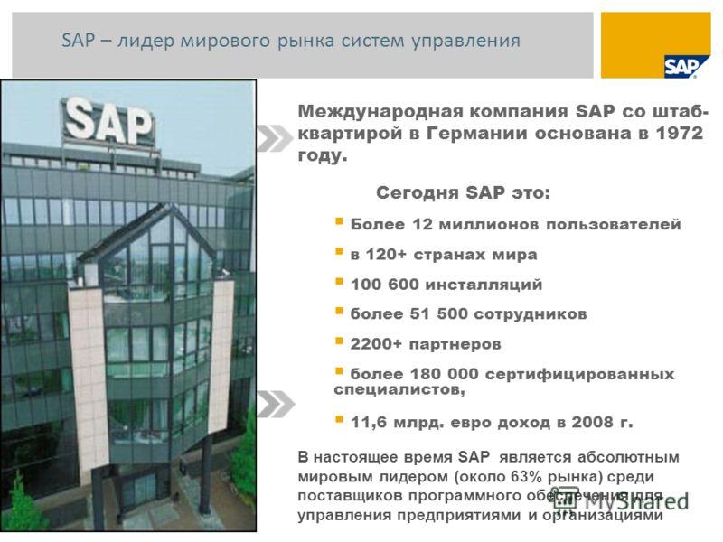 Международная компания SAP со штаб- квартирой в Германии основана в 1972 году. Сегодня SAP это: Более 12 миллионов пользователей в 120+ странах мира 100 600 инсталляций более 51 500 сотрудников 2200+ партнеров более 180 000 сертифицированных специали