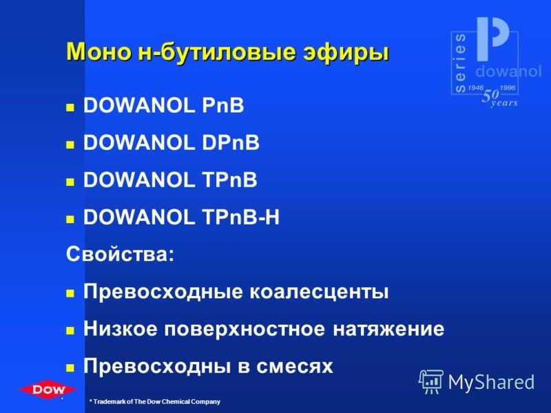 * * Trademark of The Dow Chemical Company Моно н-пропиловые эфиры n Dowanol PnP n Dowanol DPnP Свойства: n Превосходны для многокомпонентных растворителей n Коалесценты для латексов n Растворитель для концентратов красителей