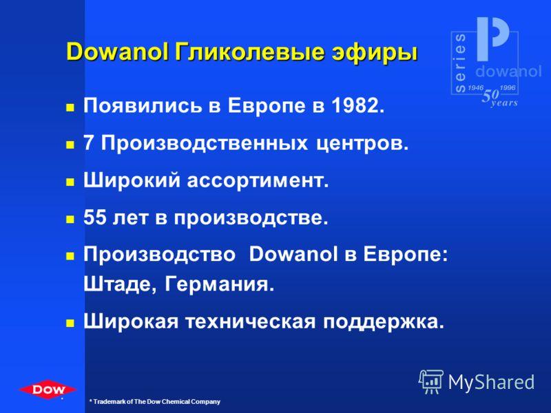* * Trademark of The Dow Chemical Company Dow Chemical Company n Штаб-квартира в Мидленде, Мичиган, С.Ш.А. n 1-я химическая компания в мире n Штаб-квартира в Европе - Хорген, Швейцария n Первой представила эфиры пропиленгликоля в Европе