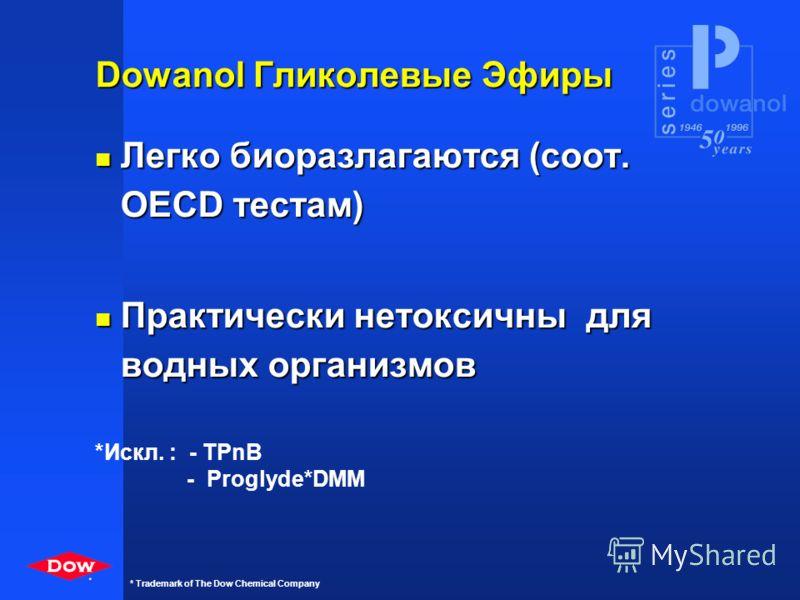 * * Trademark of The Dow Chemical Company n Этиленгликоли с короткими цепями являются токсичными. n DOWANOL имеет преимущество. n Различие определяется метаболизмом. Ответственный выбор
