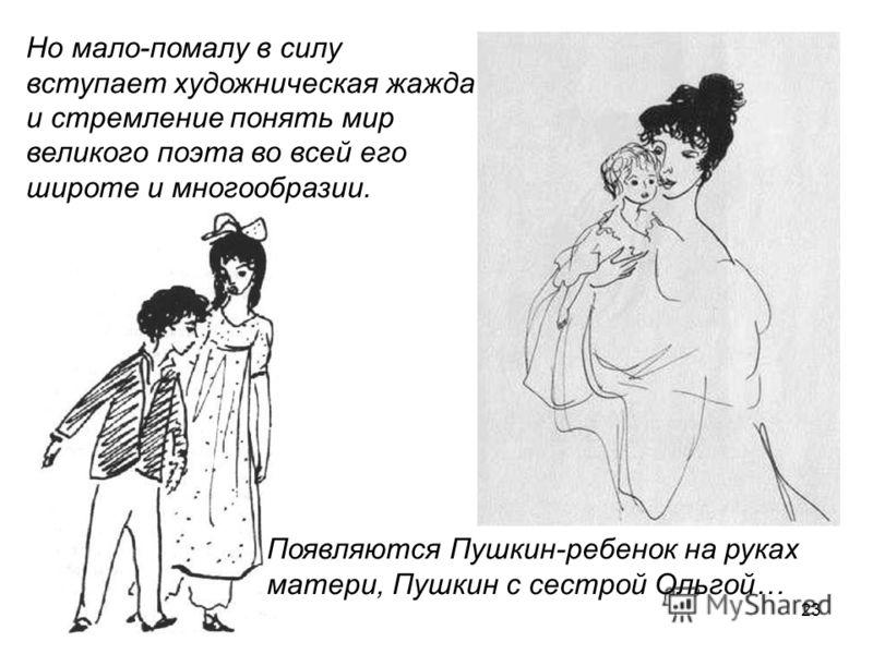23 Появляются Пушкин-ребенок на руках матери, Пушкин с сестрой Ольгой… Но мало-помалу в силу вступает художническая жажда и стремление понять мир великого поэта во всей его широте и многообразии.