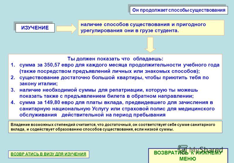 ИЗУЧЕНИЕ Ты должен показать что обладаешь: 1.сумма за 350,57 евро для каждого месяца продолжительности учебного года (также посредством предъявлений личных или знакомых способов); 2.существование достаточно большой квартиры, чтобы приютить тебя по за