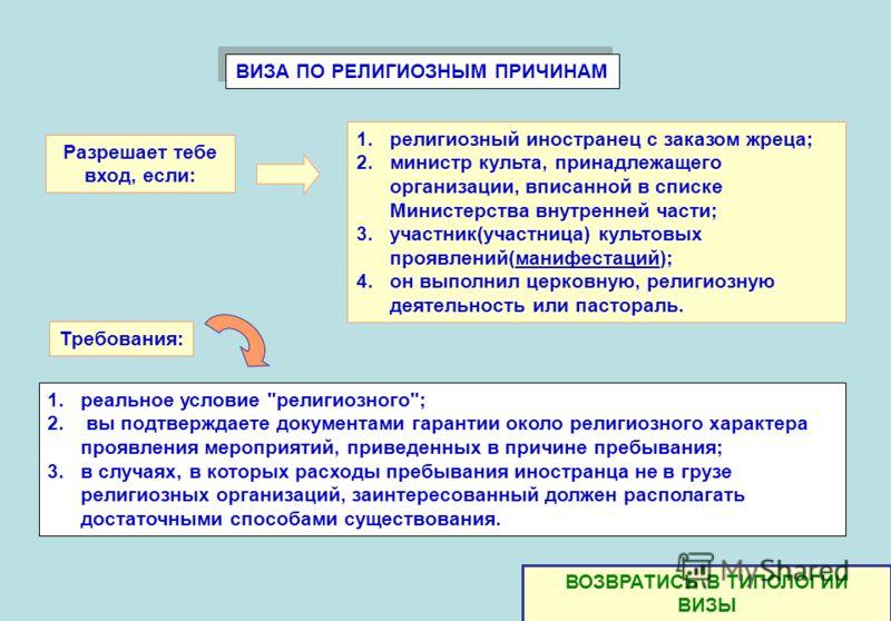 ВИЗА ПО РЕЛИГИОЗНЫМ ПРИЧИНАМ 1.реальное условие