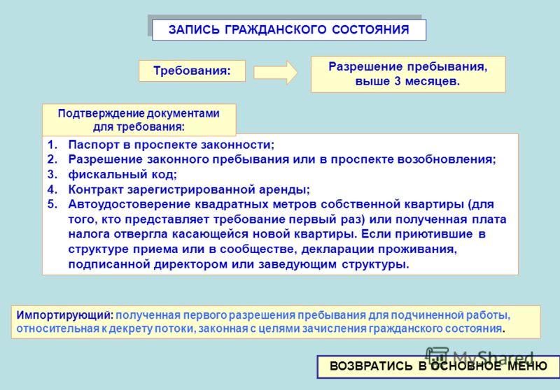 ЗАПИСЬ ГРАЖДАНСКОГО СОСТОЯНИЯ 1.Паспорт в проспекте законности; 2.Разрешение законного пребывания или в проспекте возобновления; 3.фискальный код; 4.Контракт зарегистрированной аренды; 5.Автоудостоверение квадратных метров собственной квартиры (для т