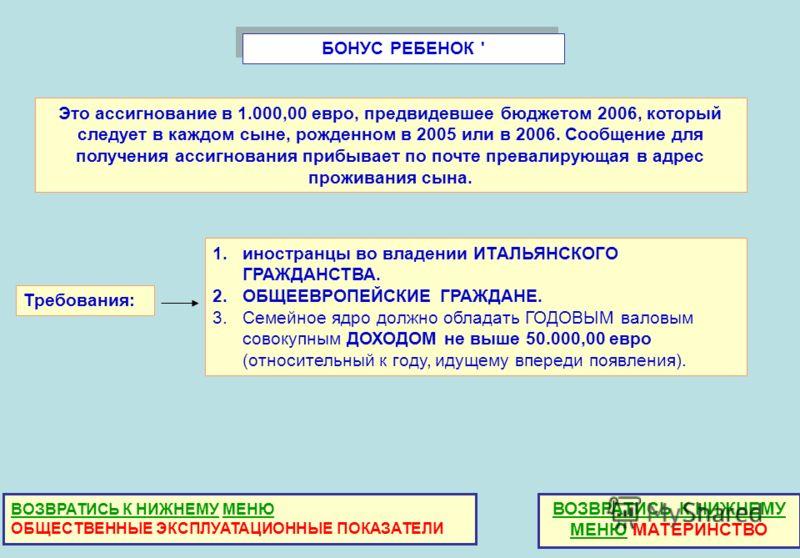 БОНУС РЕБЕНОК ' Это ассигнование в 1.000,00 евро, предвидевшее бюджетом 2006, который следует в каждом сыне, рожденном в 2005 или в 2006. Сообщение для получения ассигнования прибывает по почте превалирующая в адрес проживания сына. Требования: 1.ино