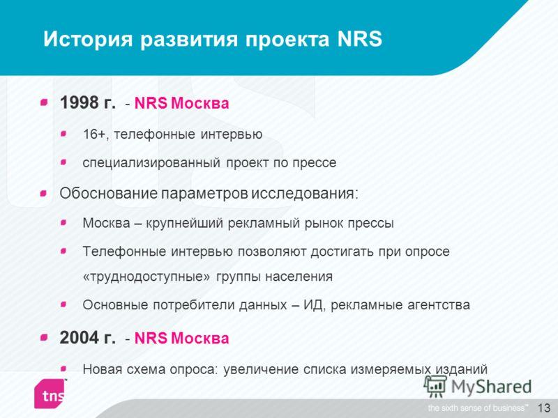 13 История развития проекта NRS 1998 г. - NRS Москва 16+, телефонные интервью специализированный проект по прессе Обоснование параметров исследования: Москва – крупнейший рекламный рынок прессы Телефонные интервью позволяют достигать при опросе «труд
