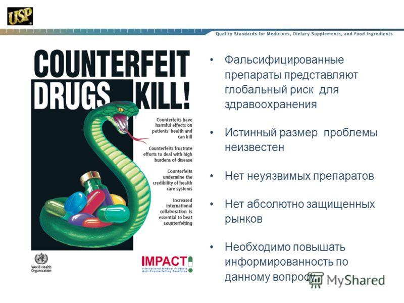 Фальсифицированные препараты представляют глобальный риск для здравоохранения Истинный размер проблемы неизвестен Нет неуязвимых препаратов Нет абсолютно защищенных рынков Необходимо повышать информированность по данному вопросу