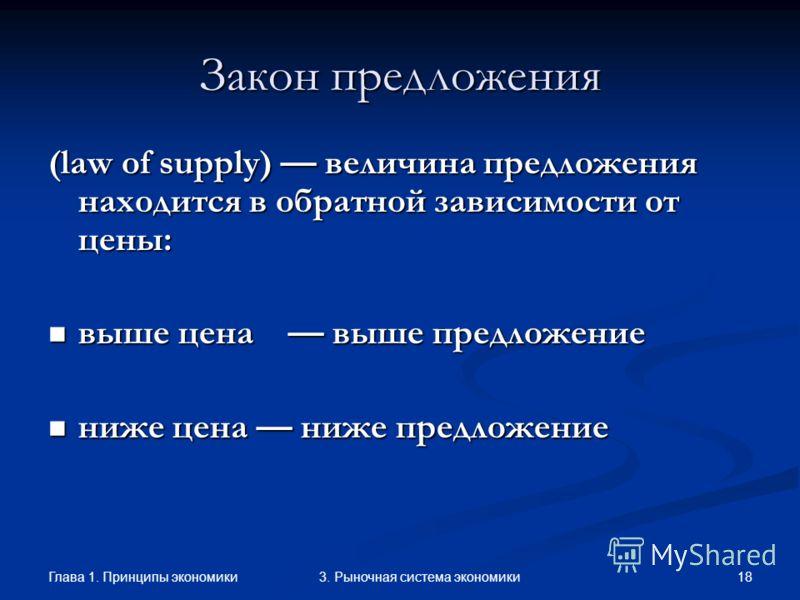 Глава 1. Принципы экономики 173. Рыночная система экономики Закон предложения (law of supply) величина предложения находится в прямой зависимости от цены: выше цена выше предложение выше цена выше предложение ниже цена ниже предложение ниже цена ниже