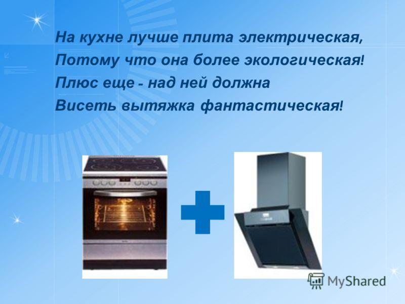 На кухне лучше плита электрическая, Потому что она более экологическая ! Плюс еще - над ней должна Висеть вытяжка фантастическая !