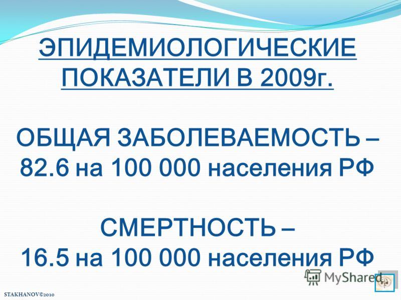 ЭПИДЕМИОЛОГИЧЕСКИЕ ПОКАЗАТЕЛИ В 2009г. ОБЩАЯ ЗАБОЛЕВАЕМОСТЬ – 82.6 на 100 000 населения РФ СМЕРТНОСТЬ – 16.5 на 100 000 населения РФ STAKHANOV©2010