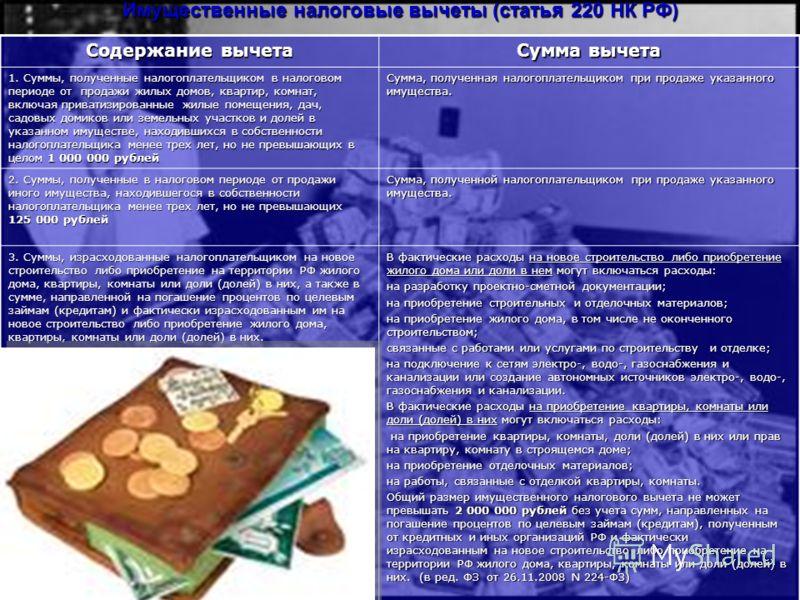 Имущественные налоговые вычеты (cтатья 220 НК РФ) Содержание вычета Сумма вычета 1. Суммы, полученные налогоплательщиком в налоговом периоде от продажи жилых домов, квартир, комнат, включая приватизированные жилые помещения, дач, садовых домиков или