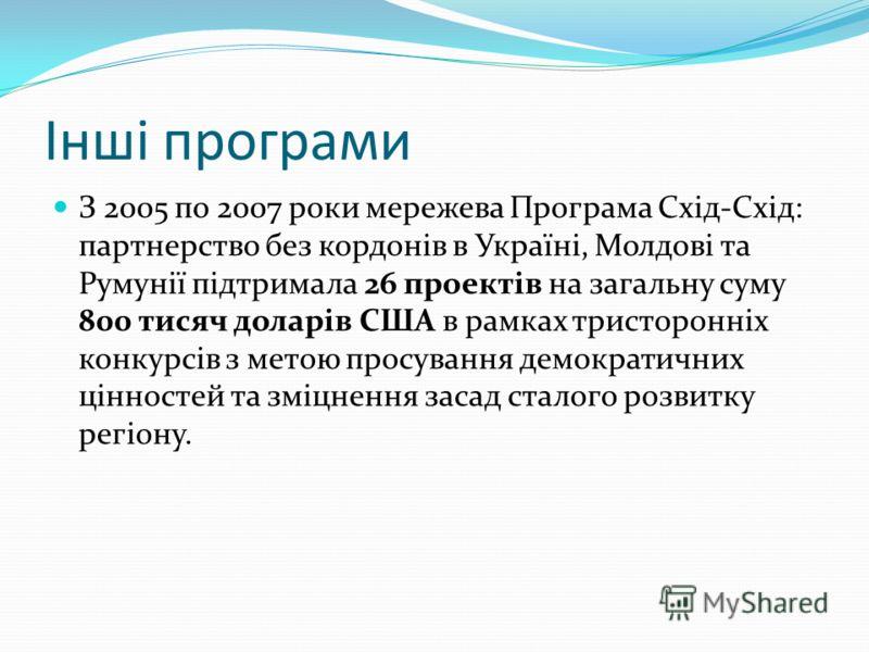 Інші програми З 2005 по 2007 роки мережева Програма Схід-Схід: партнерство без кордонів в Україні, Молдові та Румунії підтримала 26 проектів на загальну суму 800 тисяч доларів США в рамках тристоронніх конкурсів з метою просування демократичних цінно