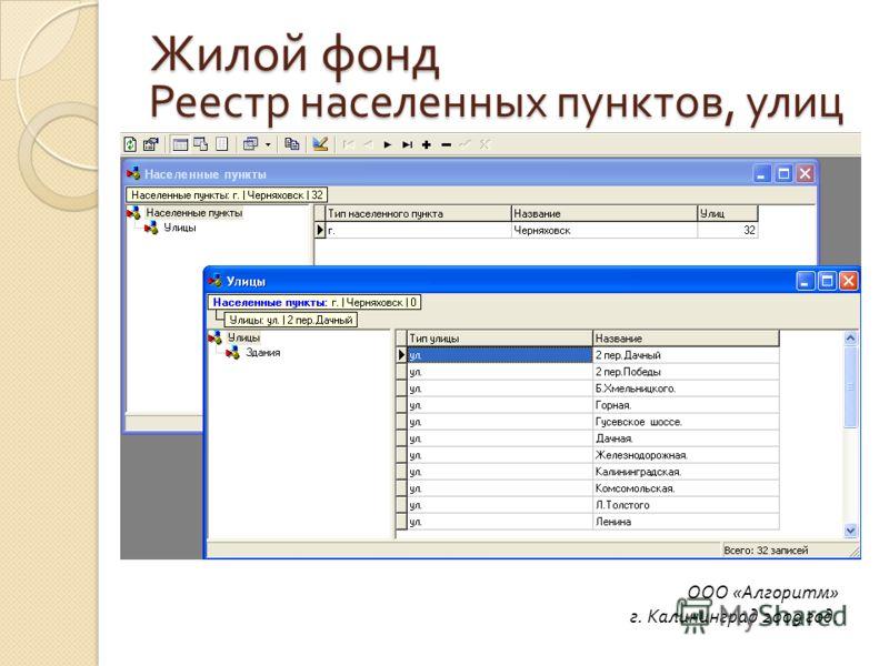 Реестр населенных пунктов, улиц ООО «Алгоритм» г. Калининград 2009 год. Жилой фонд