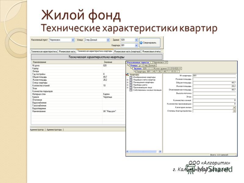 Технические характеристики квартир ООО «Алгоритм» г. Калининград 2009 год. Жилой фонд