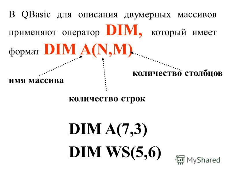 В QBasic для описания двумерных массивов применяют оператор DIM, который имеет формат DIM A(N,M) DIM A(7,3) DIM WS(5,6) имя массива количество строк количество столбцов