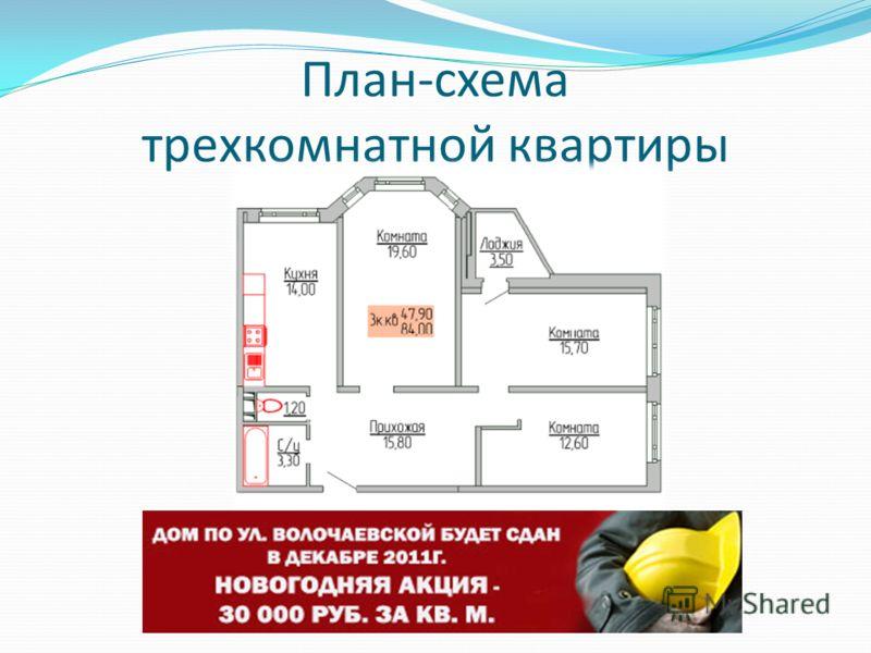 План-схема трехкомнатной квартиры