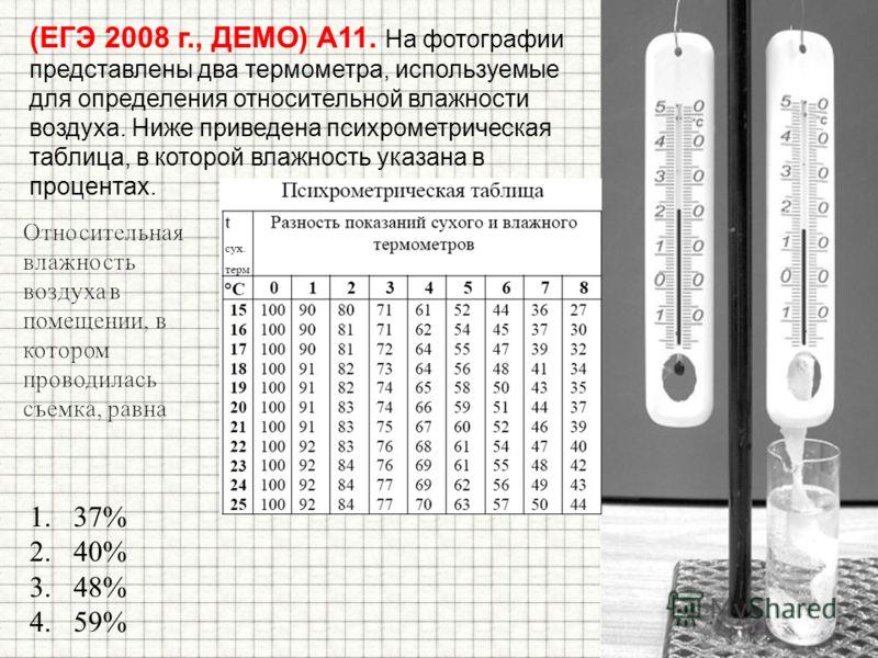 (ЕГЭ 2008 г., ДЕМО) А11. На фотографии представлены два термометра, используемые для определения относительной влажности воздуха. Ниже приведена психрометрическая таблица, в которой влажность указана в процентах. 1.37% 2.40% 3.48% 4.59%
