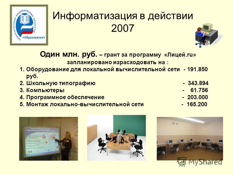 Информатизация в действии 2007 Один млн. руб. – грант за программу «Лицей.ru» запланировано израсходовать на : 1. Оборудование для локальной вычислительной сети - 191.850 руб. 2. Школьную типографию - 343.894 3. Компьютеры - 61.756 4. Программное обе