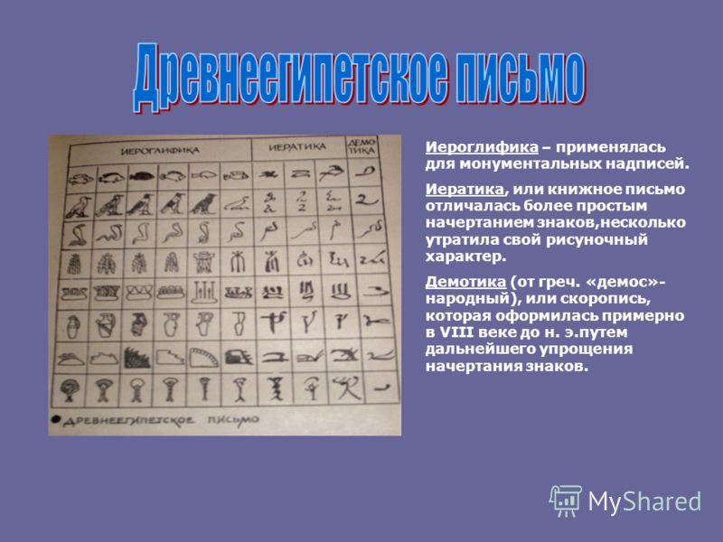 Иероглифика – применялась для монументальных надписей. Иератика, или книжное письмо отличалась более простым начертанием знаков,несколько утратила свой рисуночный характер. Демотика (от греч. «демос»- народный), или скоропись, которая оформилась прим