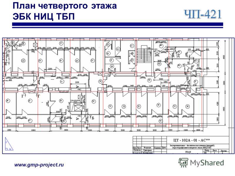 www.gmp-project.ru План четвертого этажа ЭБК НИЦ ТБП