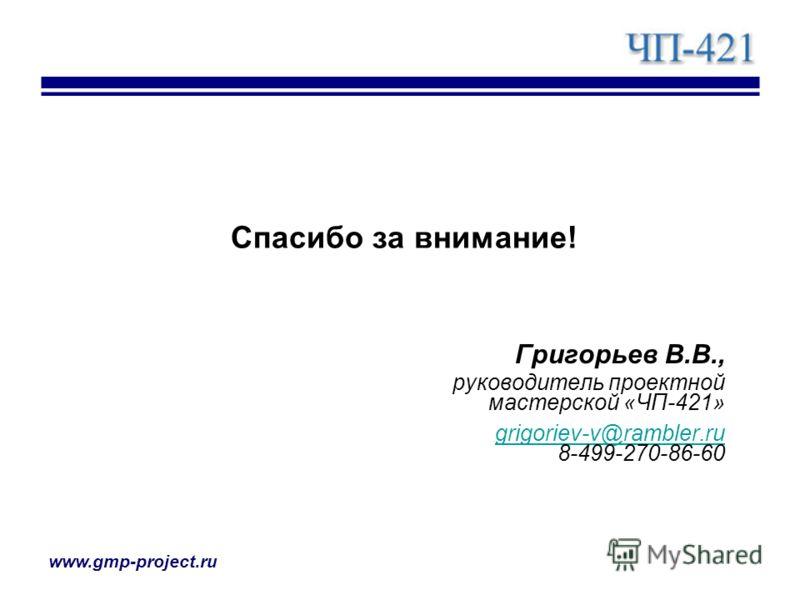 www.gmp-project.ru Спасибо за внимание! Григорьев В.В., руководитель проектной мастерской «ЧП-421» grigoriev-v@rambler.ru grigoriev-v@rambler.ru 8-499-270-86-60