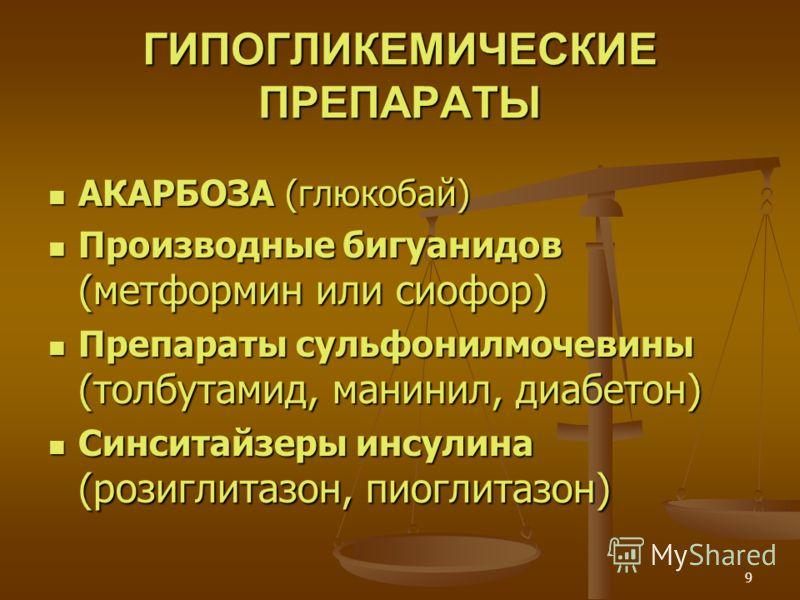 9 ГИПОГЛИКЕМИЧЕСКИЕ ПРЕПАРАТЫ АКАРБОЗА (глюкобай) АКАРБОЗА (глюкобай) Производные бигуанидов (метформин или сиофор) Производные бигуанидов (метформин или сиофор) Препараты сульфонилмочевины (толбутамид, манинил, диабетон) Препараты сульфонилмочевины
