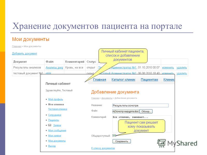 Хранение документов пациента на портале Пациент сам решает кому показывать документ Личный кабинет пациента, список и добавление документов