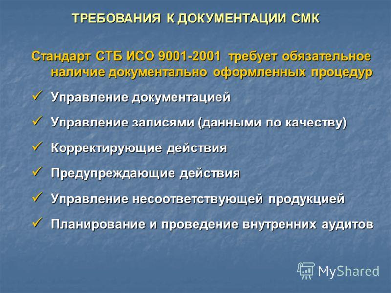 Стандарт СТБ ИСО 9001-2001 требует обязательное наличие документально оформленных процедур Управление документацией Управление документацией Управление записями (данными по качеству) Управление записями (данными по качеству) Корректирующие действия К