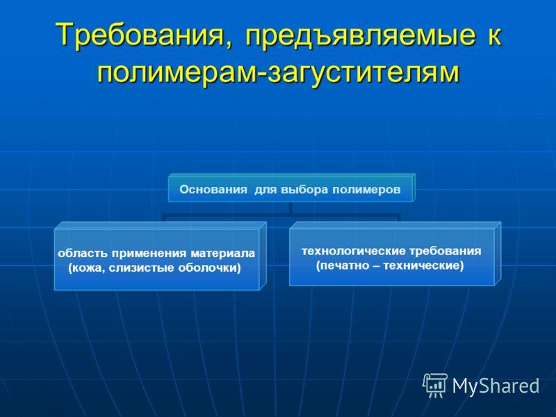 Требования, предъявляемые к полимерам-загустителям Основания для выбора полимеров область применения материала (кожа, слизистые оболочки) технологические требования (печатно – технические)