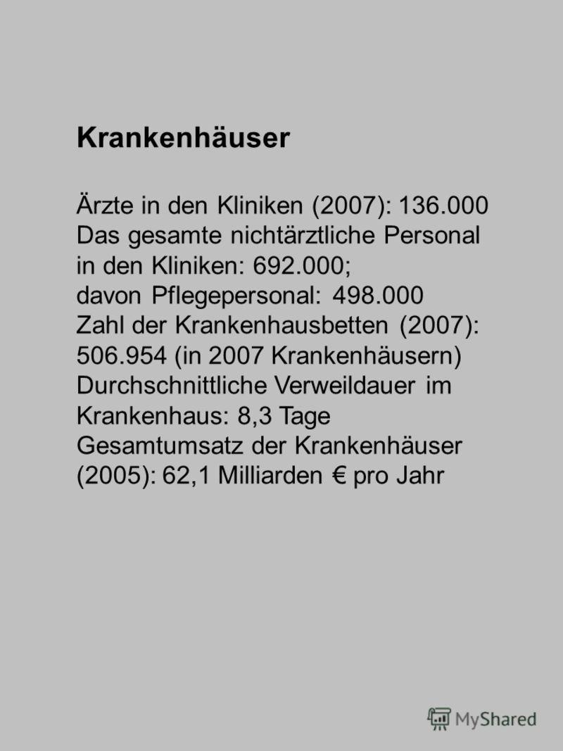 Krankenhäuser Ärzte in den Kliniken (2007): 136.000 Das gesamte nichtärztliche Personal in den Kliniken: 692.000; davon Pflegepersonal: 498.000 Zahl der Krankenhausbetten (2007): 506.954 (in 2007 Krankenhäusern) Durchschnittliche Verweildauer im Kran