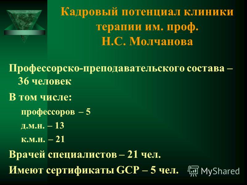 Кадровый потенциал клиники терапии им. проф. Н.С. Молчанова Профессорско-преподавательского состава – 36 человек В том числе: профессоров – 5 д.м.н. – 13 к.м.н. – 21 Врачей специалистов – 21 чел. Имеют сертификаты GСР – 5 чел.