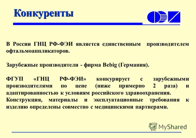 Конкуренты В России ГНЦ РФ-ФЭИ является единственным производителем офтальмоаппликаторов. Зарубежные производители - фирма Bebig (Германия). ФГУП «ГНЦ РФ-ФЭИ» конкурирует с зарубежными производителями по цене (ниже примерно 2 раза) и адаптированность