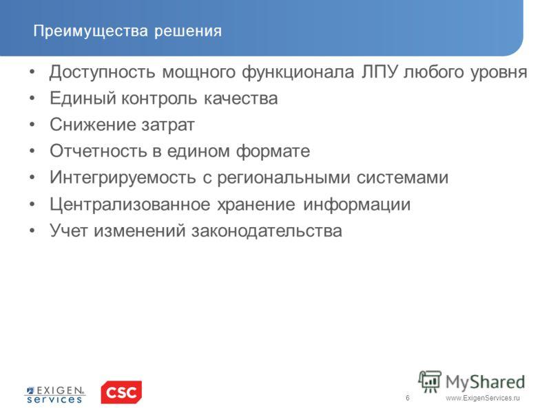 6 www.ExigenServices.ru Преимущества решения Доступность мощного функционала ЛПУ любого уровня Единый контроль качества Снижение затрат Отчетность в едином формате Интегрируемость с региональными системами Централизованное хранение информации Учет из