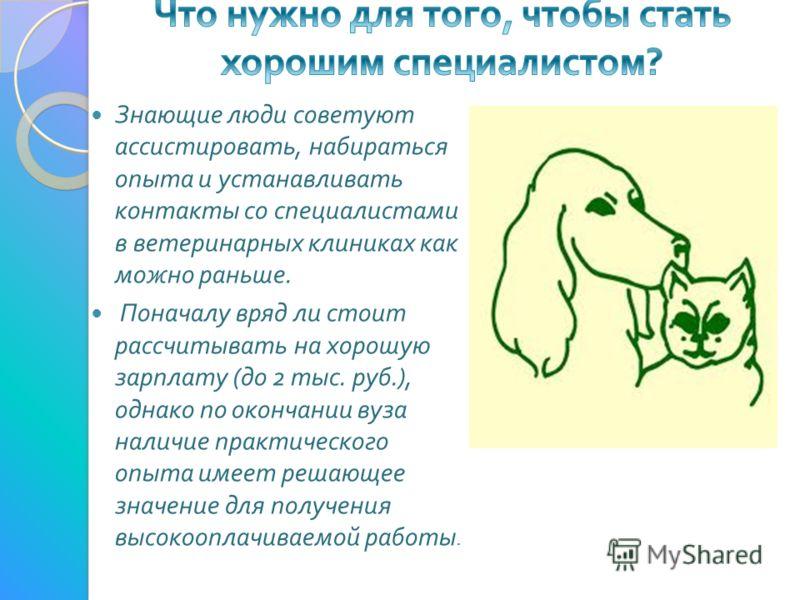 Знающие люди советуют ассистировать, набираться опыта и устанавливать контакты со специалистами в ветеринарных клиниках как можно раньше. Поначалу вряд ли стоит рассчитывать на хорошую зарплату ( до 2 тыс. руб.), однако по окончании вуза наличие прак
