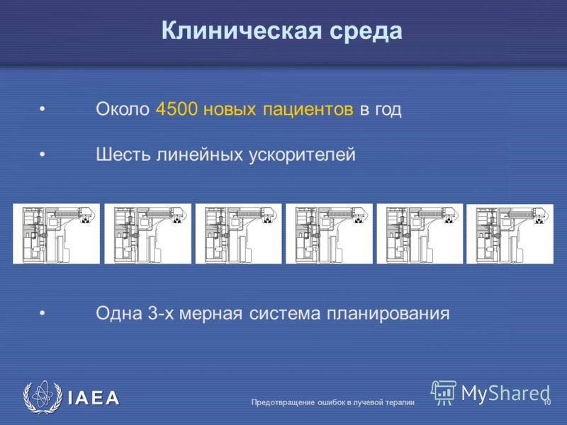 IAEA Предотвращение ошибок в лучевой терапии10 Клиническая среда Около 4500 новых пациентов в год Шесть линейных ускорителей Oдна 3-х мерная система планирования