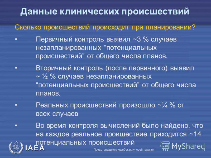 IAEA Предотвращение ошибок в лучевой терапии16 Сколько происшествий происходит при планировании? Первичный контроль выявил ~3 % случаев незапланированных потенциальных происшествий от общего числа планов. Вторичный контроль (после первичного) выявил