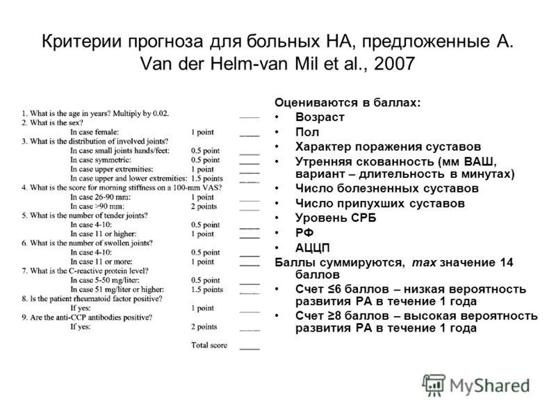 Критерии прогноза для больных НА, предложенные A. Van der Helm-van Mil et al., 2007 Оцениваются в баллах: Возраст Пол Характер поражения суставов Утренняя скованность (мм ВАШ, вариант – длительность в минутах) Число болезненных суставов Число припухш