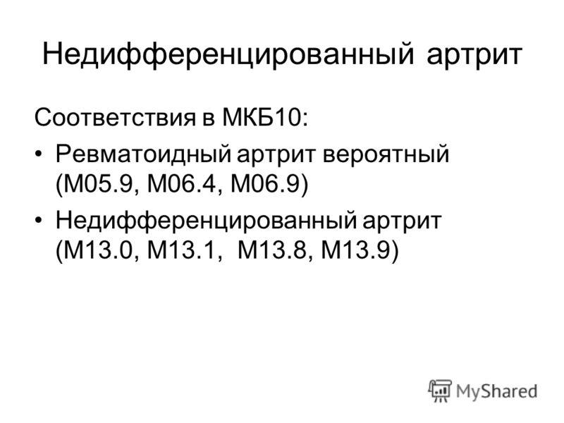 Недифференцированный артрит Соответствия в МКБ10: Ревматоидный артрит вероятный (М05.9, М06.4, М06.9) Недифференцированный артрит (M13.0, M13.1, M13.8, M13.9)