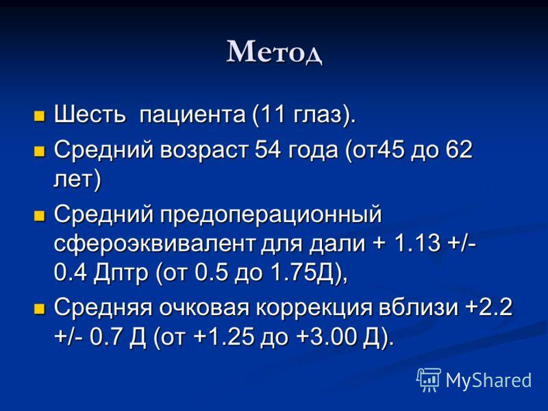 Метод Шесть пациента (11 глаз). Шесть пациента (11 глаз). Средний возраст 54 года (от45 до 62 лет) Средний возраст 54 года (от45 до 62 лет) Средний предоперационный сфероэквивалент для дали + 1.13 +/- 0.4 Дптр (от 0.5 до 1.75Д), Средний предоперацион
