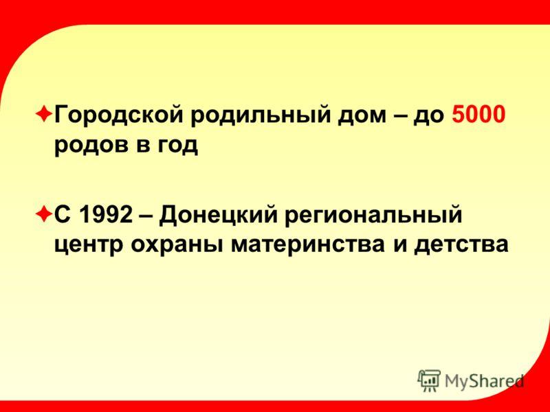 Городской родильный дом – до 5000 родов в год С 1992 – Донецкий региональный центр охраны материнства и детства