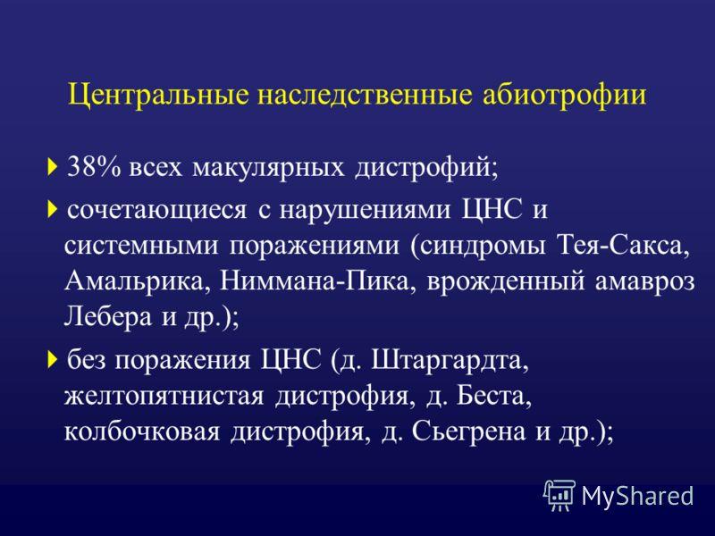 Центральные наследственные абиотрофии 38% всех макулярных дистрофий; сочетающиеся с нарушениями ЦНС и системными поражениями (синдромы Тея-Сакса, Амальрика, Ниммана-Пика, врожденный амавроз Лебера и др.); без поражения ЦНС (д. Штаргардта, желтопятнис