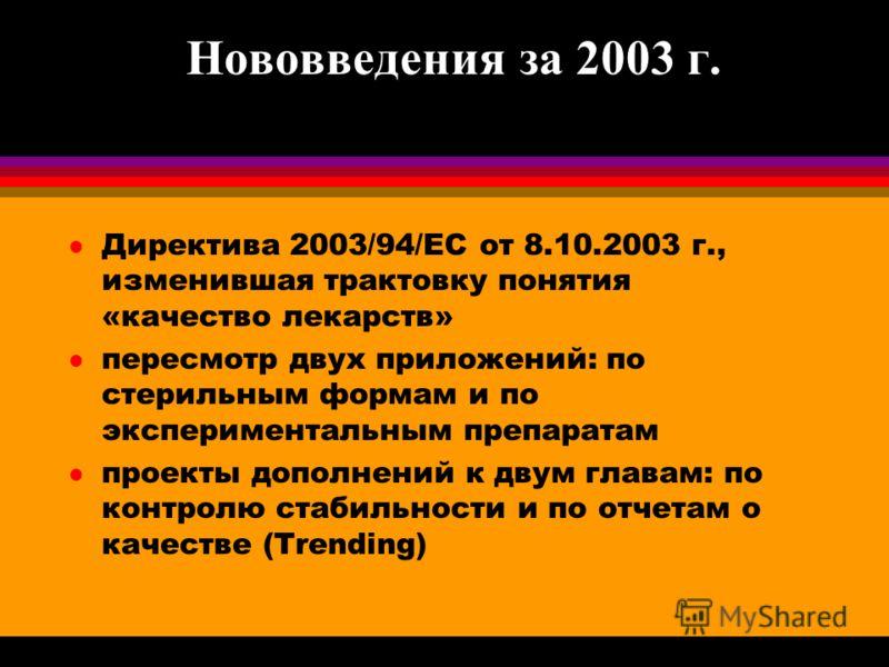 Нововведения за 2003 г. l Директива 2003/94/ЕС от 8.10.2003 г., изменившая трактовку понятия «качество лекарств» l пересмотр двух приложений: по стерильным формам и по экспериментальным препаратам l проекты дополнений к двум главам: по контролю стаби