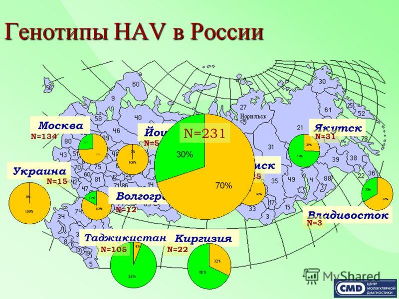 Генотипы HAV в России Таджикистан Киргизия N=22 Москва Волгоград Йошкар-Ола Тюмень Омск N=134 N=12 N=10 N=5 N=25 Владивосток N=3 Якутск N=31 Украина N=15 94% 6% N=105 N=231
