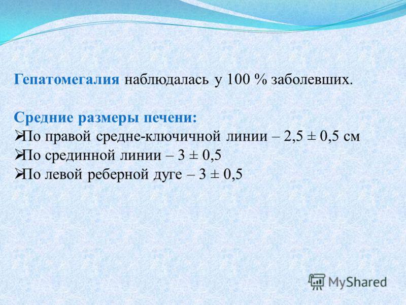 Гепатомегалия наблюдалась у 100 % заболевших. Средние размеры печени: По правой средне-ключичной линии – 2,5 ± 0,5 см По срединной линии – 3 ± 0,5 По левой реберной дуге – 3 ± 0,5
