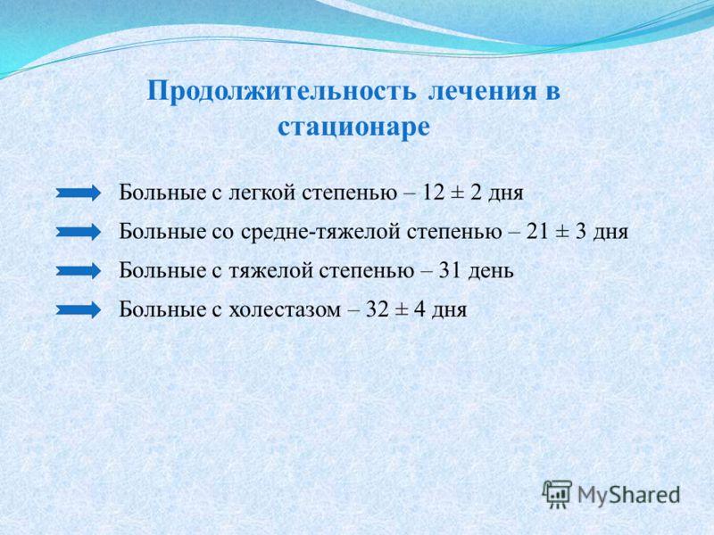 Продолжительность лечения в стационаре Больные с легкой степенью – 12 ± 2 дня Больные cо средне-тяжелой степенью – 21 ± 3 дня Больные с тяжелой степенью – 31 день Больные с холестазом – 32 ± 4 дня