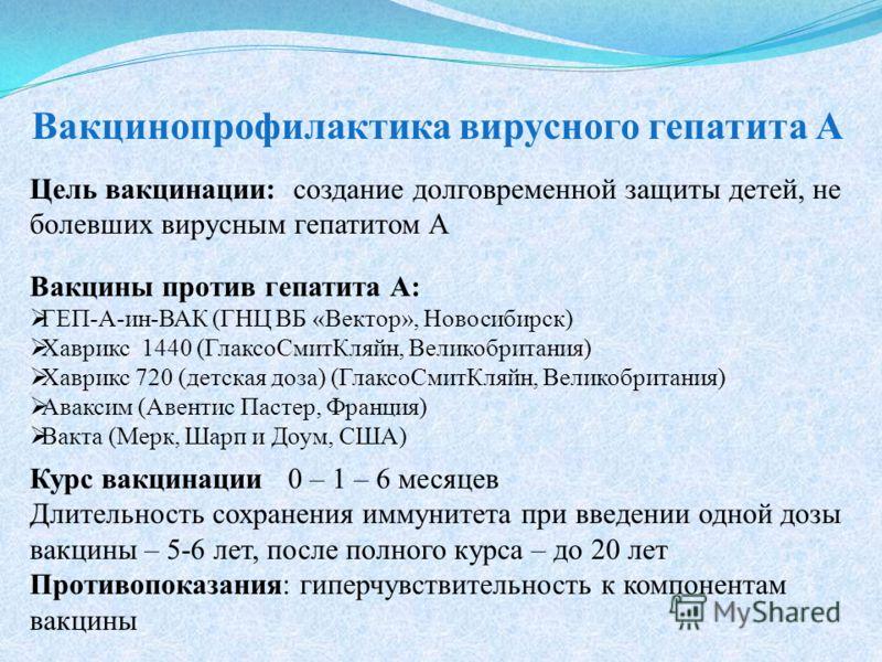 Цель вакцинации: создание долговременной защиты детей, не болевших вирусным гепатитом А Вакцины против гепатита А: ГЕП-А-ин-ВАК (ГНЦ ВБ «Вектор», Новосибирск) Хаврикс 1440 (ГлаксоСмитКляйн, Великобритания) Хаврикс 720 (детская доза) (ГлаксоСмитКляйн,